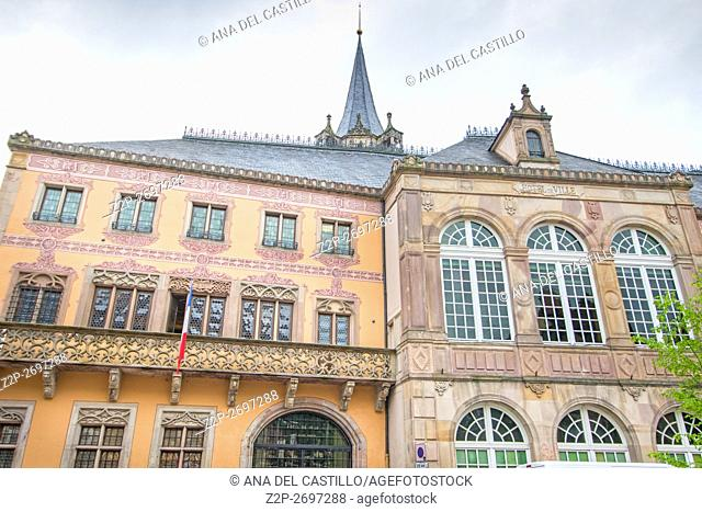 Medieval architecture in Obernai on May 14, 2016 in Alsace France. The city hall palace