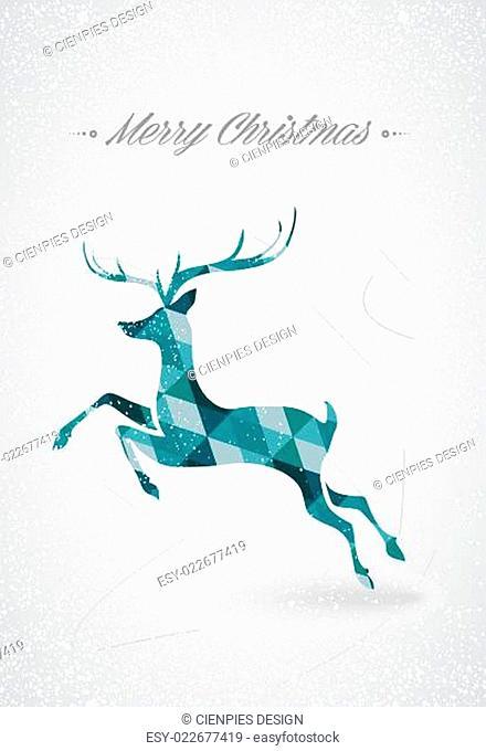 Merry Christmas trendy reindeer postcard