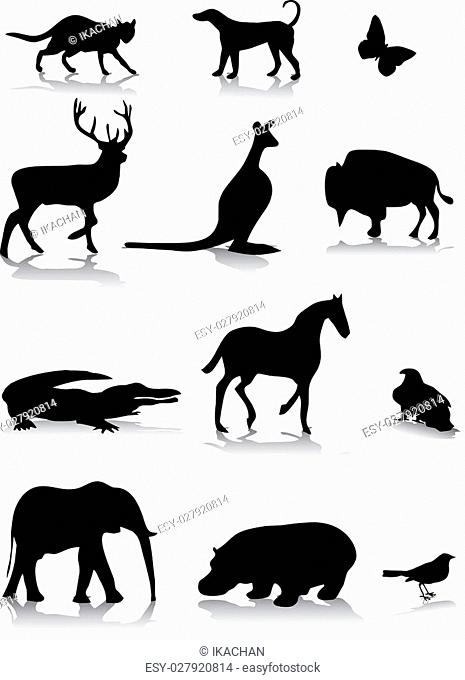 set of different animal silhouettes