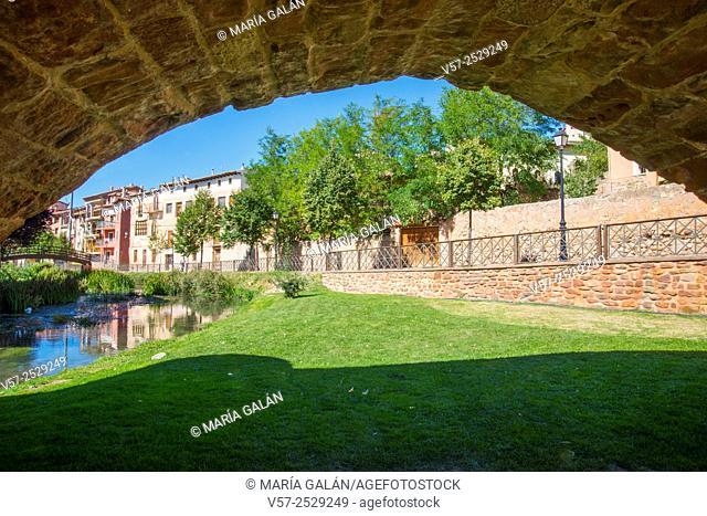 View from below the medieval bridge. Molina de Aragon, Guadalajara province, Castilla La Mancha, Spain