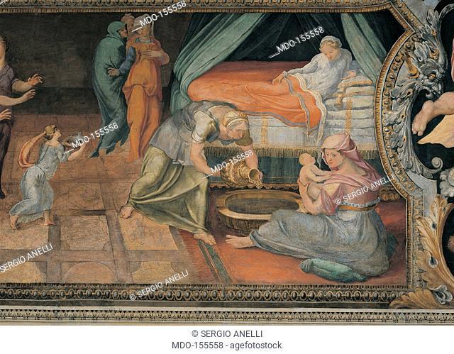 Birth of Achilles, by Anonymous artist, 16th Century, fresco. Italy; Lazio; Rome; Palazzo Spada; Stanza di Achille. All. Birth newborn Achilles mother Thetis...