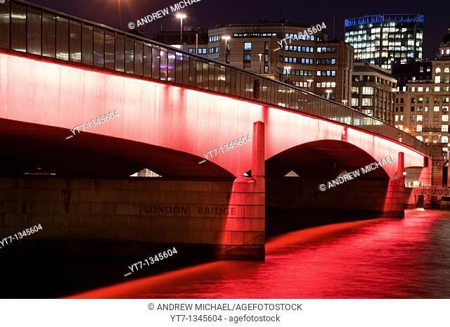 London bridge on river Thames after dark  England