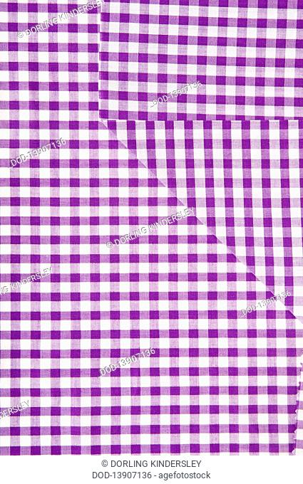 Purple and white gingham fabric, close-up