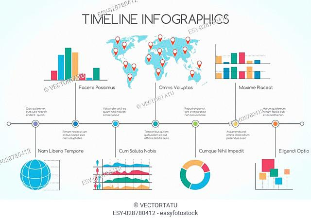 Timeline Infographic with line charts. Colorful vector illustration with signs