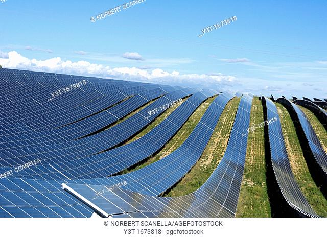 Europe, France, Alpes de Haute Provence region Puimichel, the Mees Solar Farm, solar panels