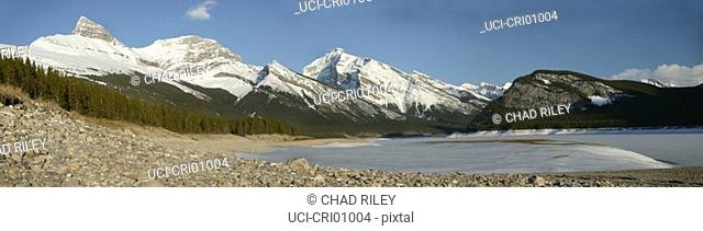 Panoramic view of mountain range and lake