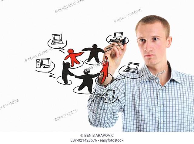 business man draw cloud computing chart