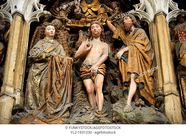 Gothic sculptures depicting scenes from the life of John The Baptist. Cathedral of Notre-Dame, Amiens, France