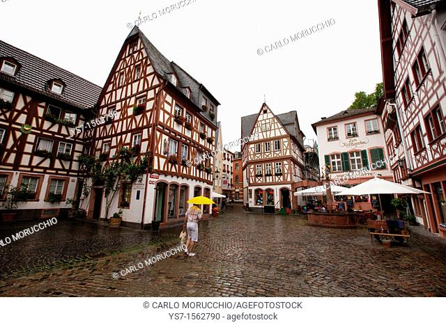 Typical houses in the historical center of Mainz, Germany, Europe
