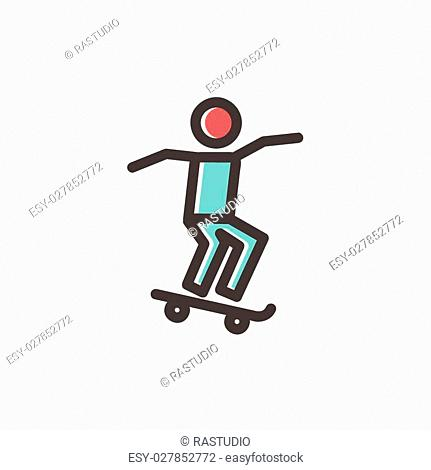 Man skateboarding icon thin line for web and mobile, modern minimalistic flat design. Vector icon with dark grey outline and offset colour on light grey...