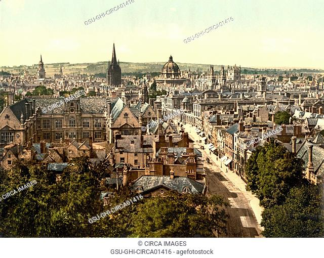 General View and High Street, Oxford, England, Photochrome Print, circa 1900