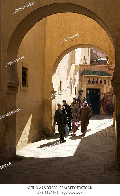 Morocco - Arcades and alley in the Medina = the original Arab part of a town of Marrakesh