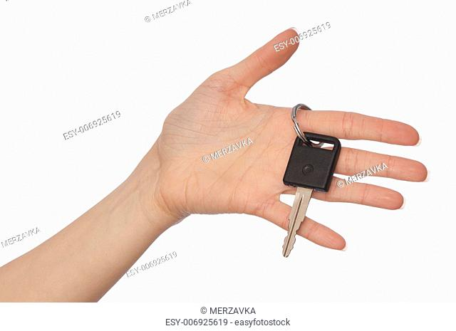 key from big car in the woman's hand