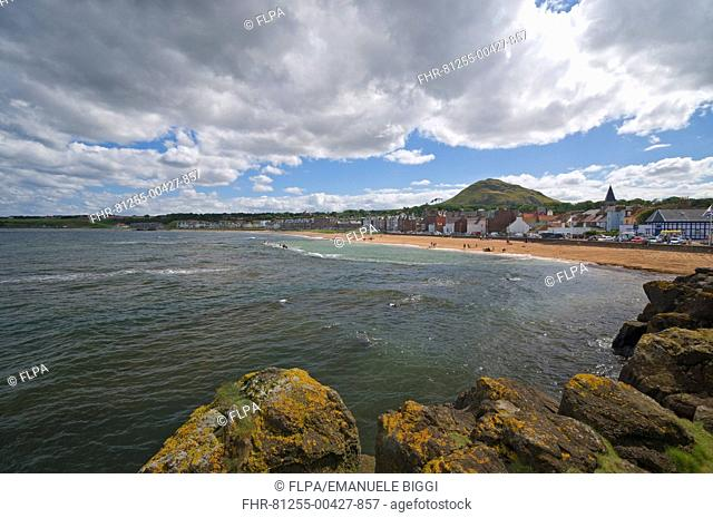 View across bay towards seaside town, North Berwick, Firth of Forth, East Lothian Scotland