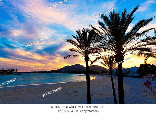 Alcudia Majorca at sunset on the beach Mallorca Balearic islands