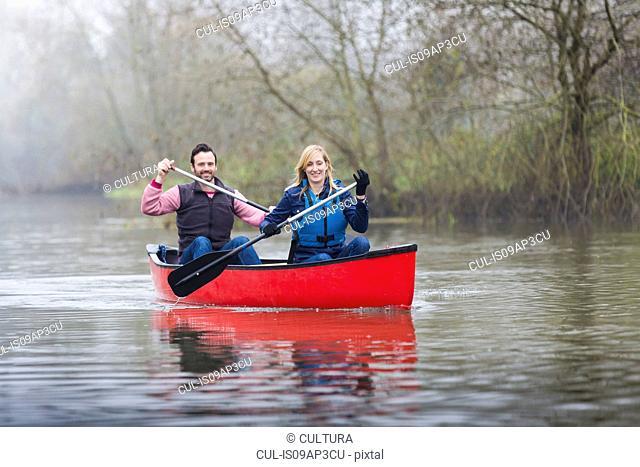 Couple canoeing