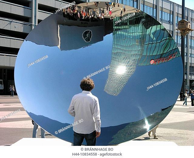 Switzerland, Europe, Art Basel, Anish Kapoor, mirror, sculpture, Messe Basel, outdoors, exhibition, fair, man, reflect