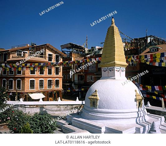 The Boudhanath stupa is one of the largest in South Asia,at 36 metres high. It is a place of pilgrimage