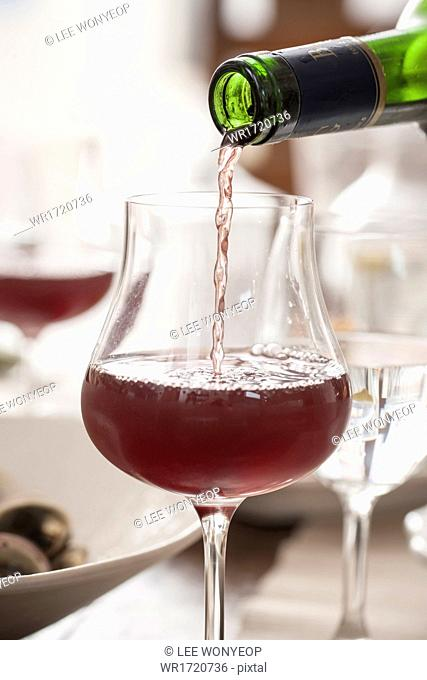 Wine poured in to a glass