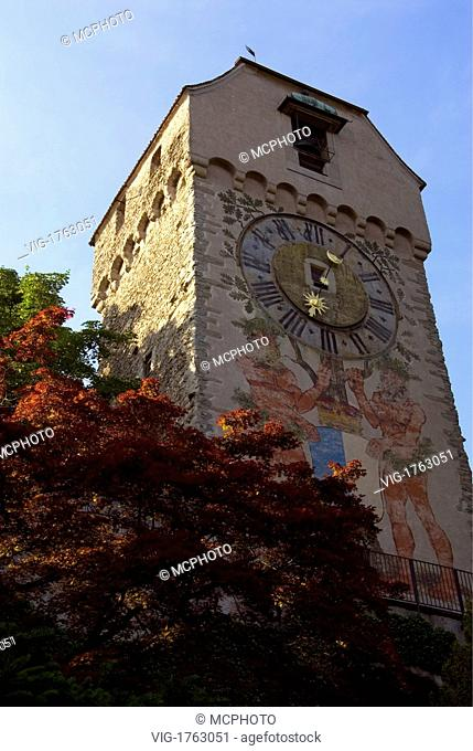View at the historical -Zeitturm- (Time Tower) at the Musegg Wall in the Old Town of Lucerne at the Lake Lucerne in Central Switzerland