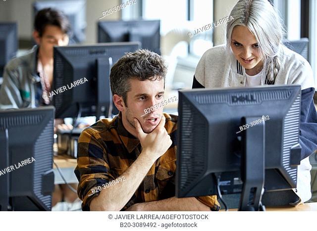 Students, Computer Classroom, College, School of Business Studies, University, Donostia, San Sebastian, Gipuzkoa, Basque Country, Spain, Europe