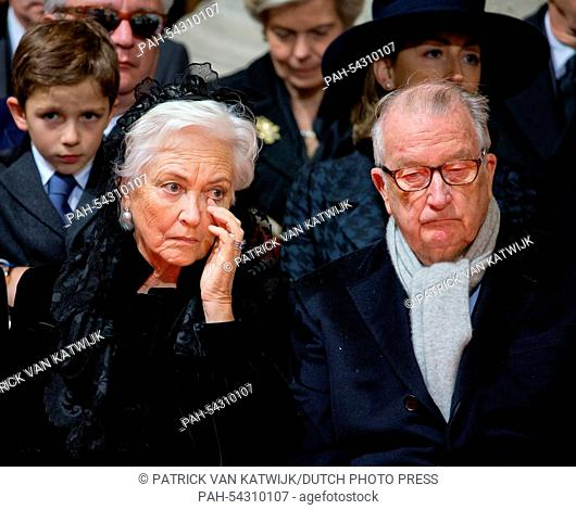 King Albert and Queen Paola of Belgium attend the funeral of Belgian Queen Fabiola at the Cathedral of St. Michael and St