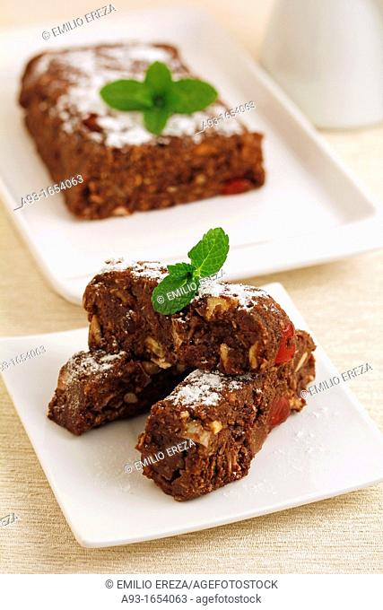 Chocolate cake with nuts and fruits
