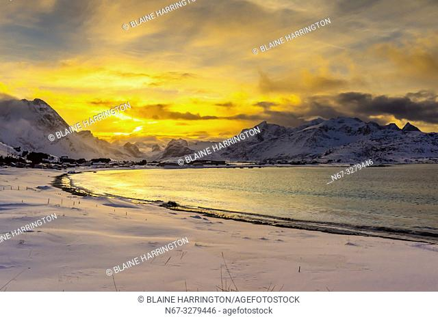 Winter landscape between Flakstad and Ramberg, Lofoten Islands, Arctic, Northern Norway