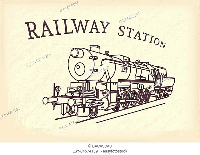 Steam locomotive illustration. Vector retro train on grunge paper background