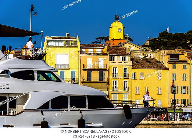 Europe. France. Var. Saint-Tropez. Arrived a yacht in the port of St. Tropez