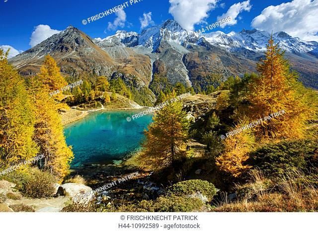 Lac Bleu, Grande Dent de Veisivi, Dent de Perroc, Aiguille de la Tsa, Valais, Switzerland