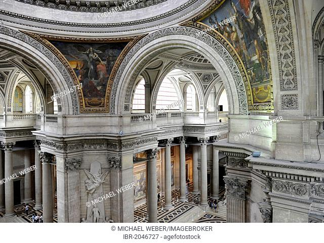 Interior, view from the observation deck on the National Hall of Fame Panthéon, Montagne Sainte-Genevieve, Paris, France, Europe