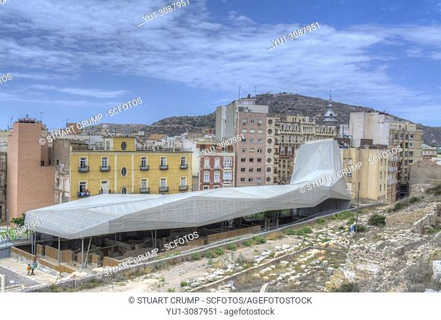 HDR image of the Roof structure over the Roman Forum Barrio del Foro Romano in Cartagena, Murcia, Spain