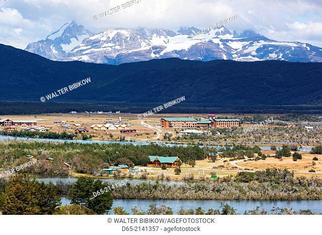 Chile, Magallanes Region, Torres del Paine National Park, village of Villa Serrano, elevated view