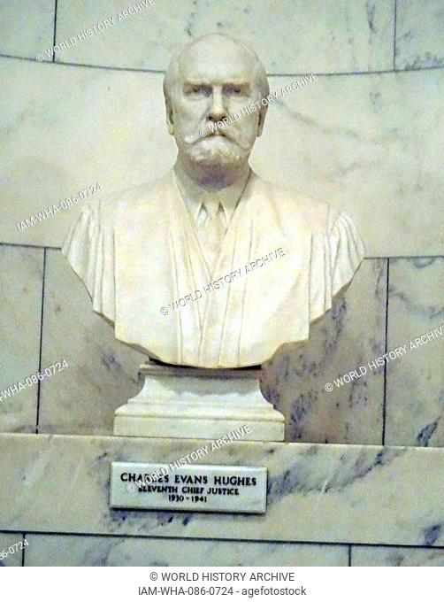 Bust of Charles Evans Hughes (1862-1948) an American statesman, lawyer, and Republican politician. Dated 20th Century