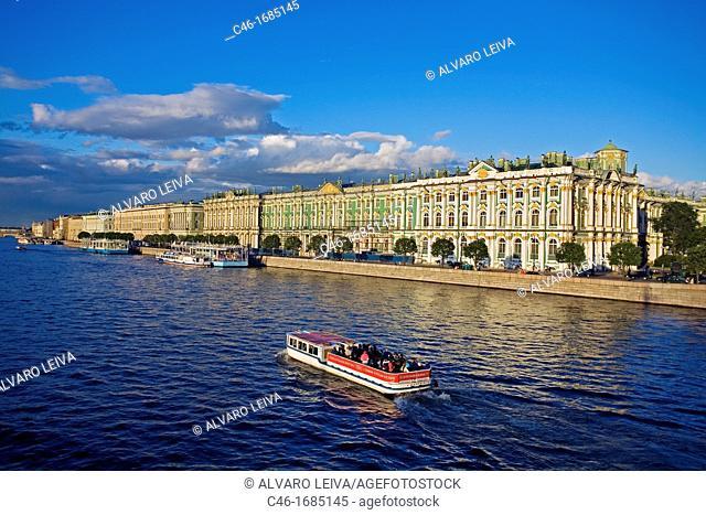 Hermitage Museum and Neva River  St  Petersburg  Russia