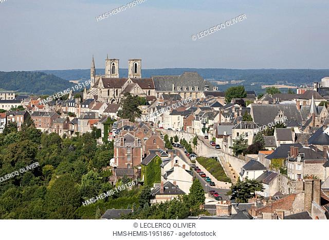 France, Aisne, Laon, view on the town and the St Martin church from the top of the cathedral