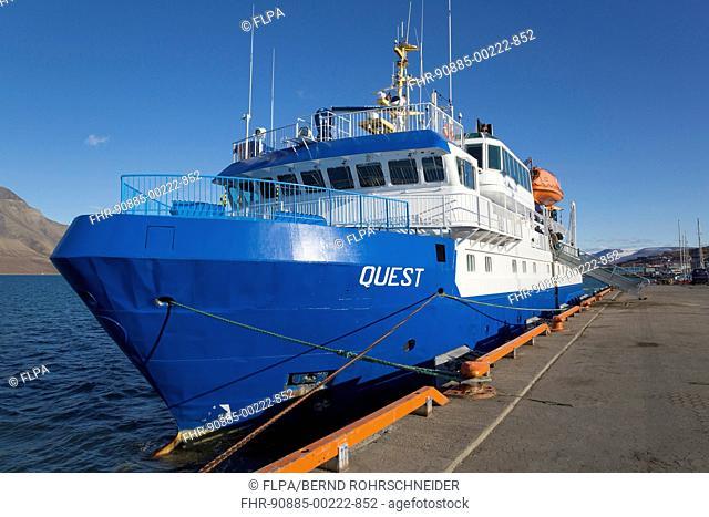 MS Quest icebreaker cruise ship in harbour, Longyearbyen, Spitsbergen, Svalbard, August