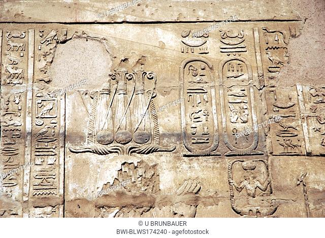 egyptian hieroglyphs in the temple of Luxor, Egypt, Luxor