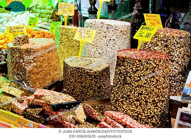 Showing of Turkish sweets, dried fruits and nuts in a stall