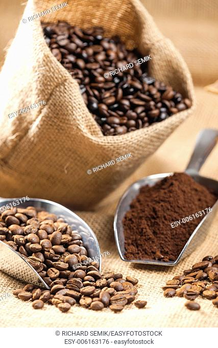 still life of coffee beans in jute bag