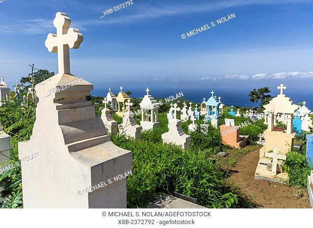 Cemetery at the Catholic church at Sao Lorenzo, Fogo Island, Cape Verde