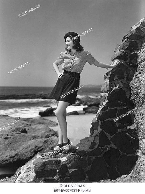 Posing at the seashore