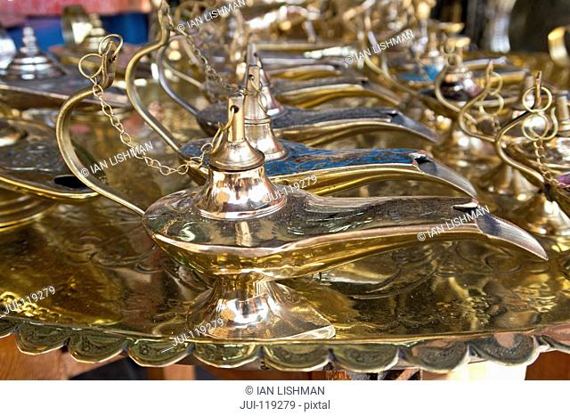 Brass lamps for sale in the Souk, Marrakech, Morroco
