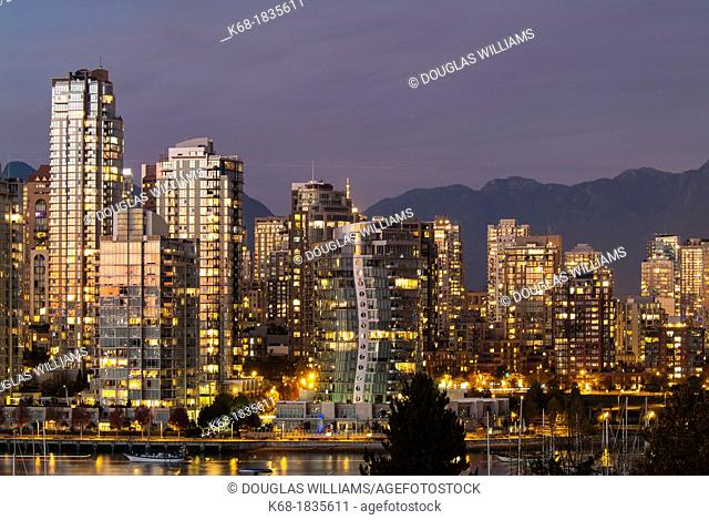 downtown buildings at twilight in Vancouver, BC, Canada