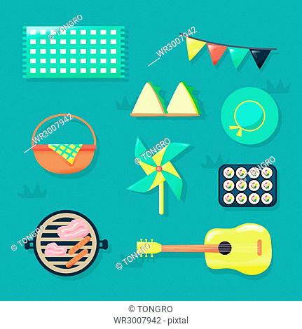 Set of icons related to picnic