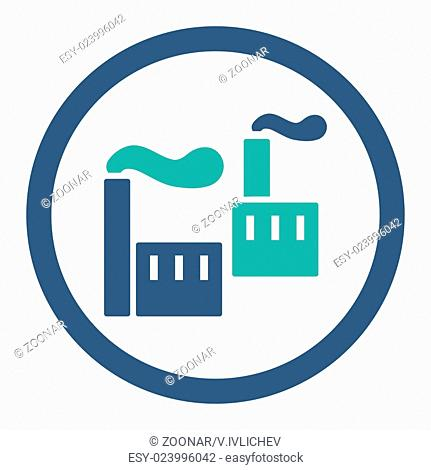 Industry flat cobalt and cyan colors rounded vector icon