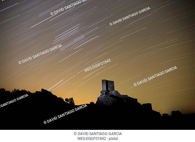 Spain, Guadalajara, Castle of Zafra at night, starry sky