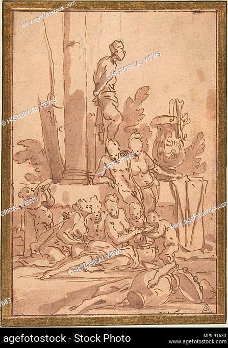 Bacchanalian Group with Children Drinking. Artist: Giulio Carpioni (Italian, Venice 1613-1678 Venice); Date: 1613-78; Medium: Pen and brown ink