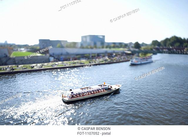 Tour boats on the Spree River, Germany, tilt-shift